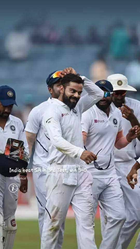 🇮🇳 3-0 से भारत की जीत 🎉 - CYJU ' S India beat SA in 3rd Test , win 3 - 0 - Glance - ShareChat