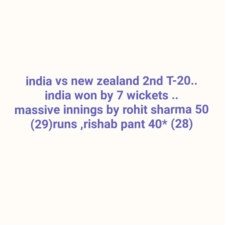 భారత్ vs న్యూజిలాండ్ టీ20 - india vs new zealand 2nd T - 20 . . india won by 7 wickets . . massive innings by rohit sharma 50 ( 29 ) runs , rishab pant 40 * ( 28 ) - ShareChat
