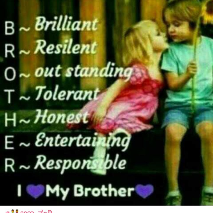 brother sister love - B ~ Brilliant R ~ Resilent O out standing I ~ Tolerant H ~ Honest E ~ Entertaining R ~ Responsible My Brother - ShareChat