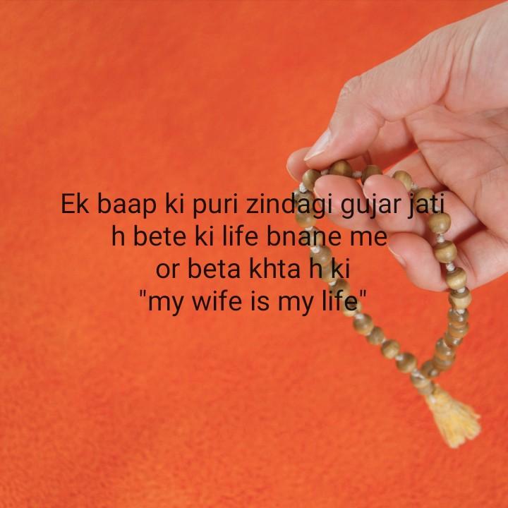 mata pita - Ek baap ki puri zindagi gujar jati h bete ki life bnane me or beta khta h ki my wife is my life - ShareChat