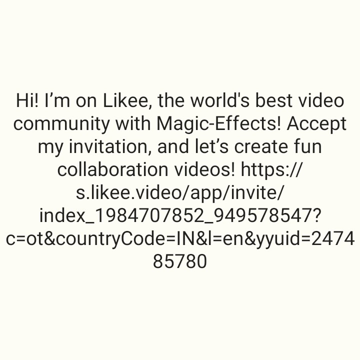 💋 वर्ल्ड किस डे - Hi ! I ' m on Likee , the world ' s best video community with Magic - Effects ! Accept my invitation , and let ' s create fun collaboration videos ! https : / / s . likee . video / app / invite / index _ 1984707852 _ 949578547 ? c = ot & countryCode = IN & l = en & yyuid = 2474 85780 - ShareChat
