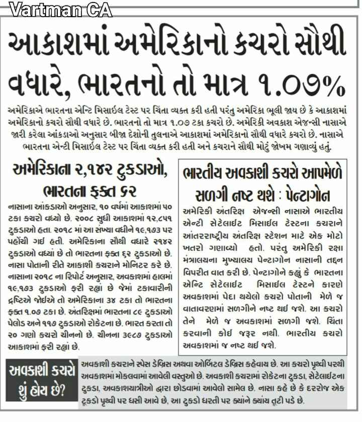 📃 6 એપ્રિલનાં સમાચાર - Vartman CA આકાશમાં અમેરિકાનો કચરો સૌથી વધારે , ભારતનો તો માત્ર ૧ . ૦૭ % અમેરિકાએ ભારતના એન્ટિ મિસાઇલ ટેસ્ટ પર ચિંતા વ્યક્ત કરી હતી પરંતુ અમેરિકા ભૂલી જાય છે કે આકાશમાં અમેરિકાનો કચરો સૌથી વધારે છે . ભારતનો તો માત્ર ૧ . ૦૭ ટકા કચરો છે . અમેરિકી અવકાશ એજન્સી નાસાએ જારી કરેલા આંકડાઓ અનુસાર બીજા દેશોની તુલનાએ આકાશમાં અમેરિકાનો સૌથી વધારે કચરો છે . નાસાએ ભારતના એન્ટી મિસાઇલ ટેસ્ટ પર ચિંતા વ્યક્ત કરી હતી અને કચરાને સૌથી મોટું જોખમ ગણાવ્યું હતું . અમેરિકાના ૨ , ૧૨ ટુકડાઓ , ભારતીય અવકાશી કચરો આપમેળે . | ભારતના ફક્ત ૬૨ | સળગી નષ્ટ થશે : પેન્ટાગોના નાસાના આંકડાઓ અનુસાર , ૧૦ વર્ષમાં આકાશમાં ૫૦ અમેરિકી અંતરિક્ષ એજન્સી નાસાએ ભારતીય ટકા કચરો વધ્યો છે . ૨૦૦૮ સુધી આકાશમાં ૧૨ , ૮૫૧ એન્ટી સેટેલાઈટ મિસાઈલ ટેસ્ટના કચરાને ટુકડાઓ હતા . ૨૦૧૮ માં આ સંખ્યા વધીને ૧૯૧૭૩ પર પહોંચી ગઈ હતી . અમેરિકાના સૌથી વધારે ૨૧૪૨ આંતરરાષ્ટ્રીય અંતરિક્ષ સ્ટેશન માટે એક મોટો ટુકડાઓ વધ્યાં છે તો ભારતના ફક્ત ૬૨ ટુકડાઓ છે . ખતરો ગણાવ્યો હતો . પરંતુ અમેરિકી રક્ષા નાસા પોતાની રીતે આકાશી કચરાને મોનિટર કરે છે . મંત્રાલયના મુખ્યાલય પેન્ટાગોન નાસાની તદ્દન નાસાના ૨૦૧૮ ના રિપોર્ટ અનુસાર , અવકાશમાં હાલમાં વિપરીત વાત કરી છે . પેન્ટાગોને કહ્યું કે ભારતના ૧૯ , ૧૭૩ ટુકડાઓ ફરી રહ્યાં છે જેમાં ટકાવારીની | એન્ટિ સેટેલાઈટ મિસાઈલ ટેસ્ટને કારણે દ્રષ્ટિએ જોઈએ તો અમેરિકાના ૩૪ ટકા તો ભારતના અવકાશમાં પેદા થયેલો કચરો પોતાની મેળે જ ફક્ત ૧ . ૦૭ ટકા છે . અંતરિક્ષમાં ભારતના ૮૯ ટુકડાઓ વાતાવરણમાં સળગીને નષ્ટ થઈ જશે . આ કચરો . પેલોડ અને ૧૧૭ ટુકડાઓ રોકેટના છે . ભારત કરતાતો | તેને મેળે જ અવકાશમાં સળગી જશે . ચિંતા ૨૦ ગણો કચરો ચીનનો છે . ચીનના ૩૯૮૭ ટુકડાઓ | કરવાની કોઈ જરૂર નથી . ભારતીય કચરા આકાશમાં ફરી રહ્યાં છે . અવકાશમાં જ નષ્ટ થઈ જશે . . 5 અવકાશી કચરાને સ્પેસ ડેબ્રિસ અથવા ઓર્બિટલ ડેબ્રિસ કહેવાય છે . આ કચરો પૃથ્વી પરથી અવકાશી કચરો અવકાશમાં મોકલવામાં આવેલી વસ્તુઓ છે . અવકાશી કચરામાં રોકેટના ટુકડા , સેટેલાઈટના ટુકડા , અવકાશયાત્રીઓ દ્વારા છોડવામાં આવેલો સામેલ છે . નાસા કહે છે કે દરરોજ એક ટૂકડો પૃથ્વી પર ધસી આવે છે , આ ટુકડો ધરતી પર ક્યારે ક્યાંય તૂટી પડે છે . - ShareChat