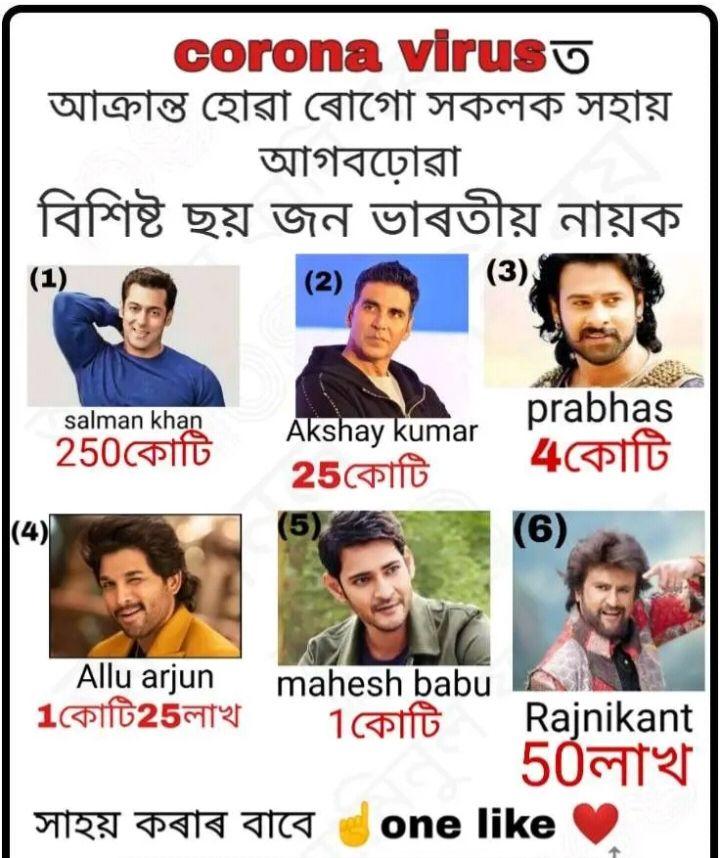 📰 আজিৰ শীৰ্ষ বাতৰি - corona viruso আক্রান্ত হােৱা ৰােগাে সকলক সহায়   আগবঢ়োৱা বিশিষ্ট ছয় জন ভাৰতীয় নায়ক ( 3 ) _ salman khan 250কোটি Akshay kumar 25কোটি prabhas PL কোটি ( 6 ) Allu arjun mahesh babu 1কোটি25লাখ 1কোটি Rajnikant 50লাখ সাহয় কৰাৰ বাবে one like - ShareChat