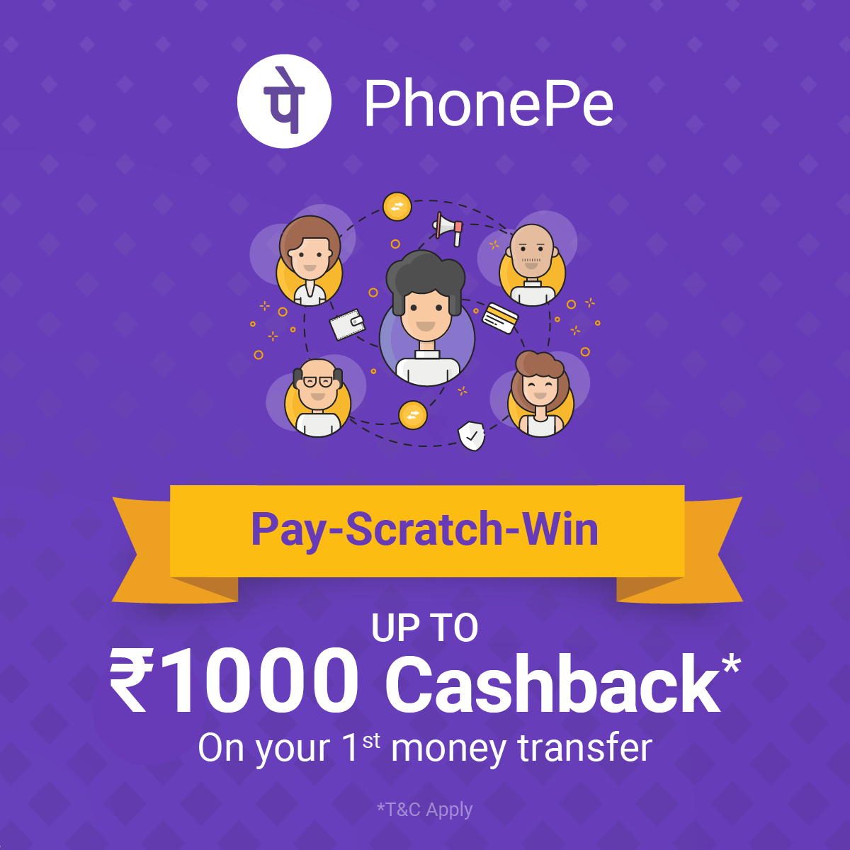 earn money - PhonePe Pay - Scratch - Win UP TO 31000 Cashback * On your 1st money transfer * T & C Apply - ShareChat