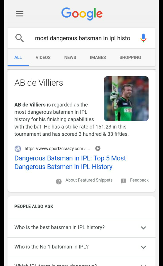 🏏 ಎಬಿಡಿ ವಿಲ್ಲಿರ್ಸ್ - = Google most dangerous batsman in ipl histoŲ ALL VIDEOS NEWS IMAGES SHOPPING AB de Villiers AB de Villiers is regarded as the most dangerous batsman in IPL history for his finishing capabilities with the bat . He has a strike - rate of 151 . 23 in this tournament and has scored 3 hundred & 33 fifties . https : / / www . sportzcraazy . com > . . . Dangerous Batsman in IPL : Top 5 Most Dangerous Batsmen in IPL History About Featured Snippets Feedback PEOPLE ALSO ASK Who is the best batsman in IPL history ? Who is the No 1 batsman in IPL ? biob in toom in moro dong - ve . . - ShareChat
