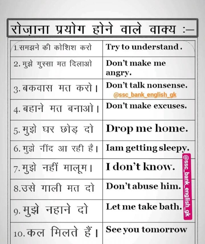 👨🎓 इंग्लिश स्पीकिंग - रोजाना प्रयोग होने वाले वाक्य : | 1 . समझने की कोशिश करो | Try to understand . 2 . मुझे गुस्सा मत दिलाओ । Don ' t make me angry . 3 . बकवास मत करो । Don ' t talk nonsense . @ ssc bank english gk 4 . बहाने मत बनाओ । Don ' t make excuses . 5 . मुझे घर छोड़ दो Drop me home . 6 . मुझे नींद आ रही है । Iam getting sleepy . 7 . मुझे नहीं मालूम । Idon ' t know . 8 . उसे गाली मत दो | Don ' tabuse him . 9 . मुझे नहाने दो Let me take bath . @ ssc _ bank _ english gk 10 . कल मिलते हैं । See you tomorrow - ShareChat