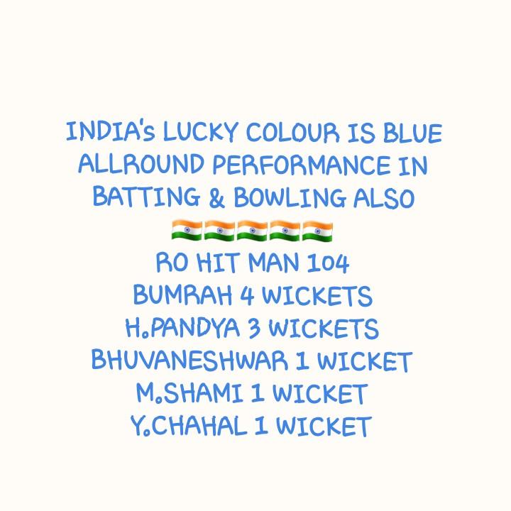 👍బంగ్లాదేశ్ పై భారత్ ఘనవిజయం - INDIA ' S LUCKY COLOUR IS BLUE ALLROUND PERFORMANCE IN BATTING & BOWLING ALSO RO HIT MAN 104 BUMRAH 4 WICKETS H . PANDYA 3 WICKETS BHUVANESHWAR 1 WICKET M . SHAMI 1 WICKET Y . CHAHAL 1 WICKET - ShareChat
