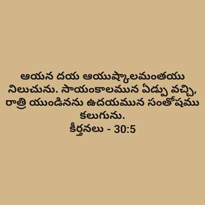 Bible Verses - ఆయన దయ ఆయుష్కాలమంతయు నిలుచును . సాయంకాలమున ఏడ్పు వచ్చి , రాత్రి యుండినను ఉదయమున సంతోషము కలుగును . కీర్తనలు - 30 : 5 - ShareChat