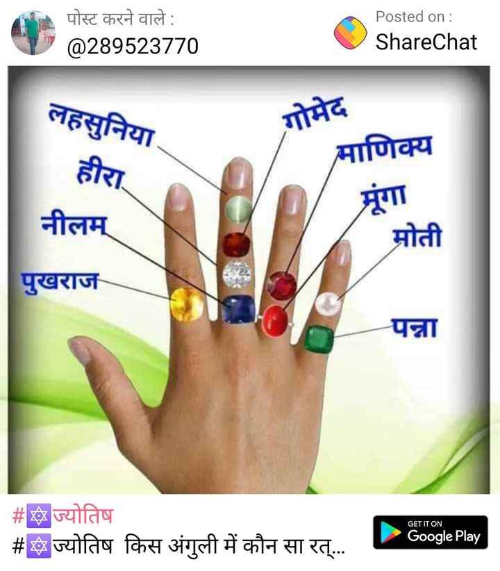 🔯8 दिसंबर का राशिफल/पंचांग🌙 - पोस्ट करने वाले : @ 289523770 Posted on : ShareChat लहसुनिया . गोमेद माणिक्य हीरा नीलम् मोती पुखराज पन्ना GET IT ON # ज्योतिष # ज्योतिष किस अंगुली में कौन सा रत् . . . Google Play | - ShareChat