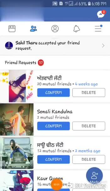 😍  ਲਵ ਸ਼ਵ ਸ਼ਾਇਰੀਆਂ - D . . 63 % 6 : 09 PM Friend Requests 37 CONFIRM DELETE Arina Grande 2 mutual friends Aayra Singhania Muskan Treet Mene vਦਾਵਾਰ ਦਾ LOAJFIRST DELETE Ghaint Sardarni 7 mutual friend JDUK Mado . . 63 % 6 : 09 PM Friend Requests 37 Simar Deep 1 mutual friend CONFIRM DELETE ਜਜਬਾਤੀ ਨਾਰ 7 mutual friends CONFIRM DELETE Chkmi Chkmi Mithi Sonu 8 mutual friends CONFIRM DELETE See All > People you may know Made - ShareChat