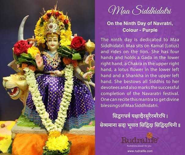 9️⃣ નવમો દિવસ : માઁ સિદ્ધિદ્રાત્રી - Maa Siddhidatri On the Ninth Day of Navratri , Colour - Purple The ninth day is dedicated to Maa Siddhidatri . Maa sits on Kamal ( Lotus ) and rides on the lion . She has four hands and holds a Gada in the lower right hand , a Chakra in the upper right hand , a lotus flower in the lower left hand and a Shankha in the upper left hand . She bestows all Siddhis to her devotees and also marks the successful completion of the Navaratri festival . One can recite this mantra to get divine blessings of Maa Siddhidatri . सिद्धगधर्व यक्षाचैरसुरैरमरैरपि । सेव्यमाना सदा भूयात सिद्धिदा सिद्धिदायिनी ॥ Rudralife Rudraksha power for you www . rudralife . com - ShareChat