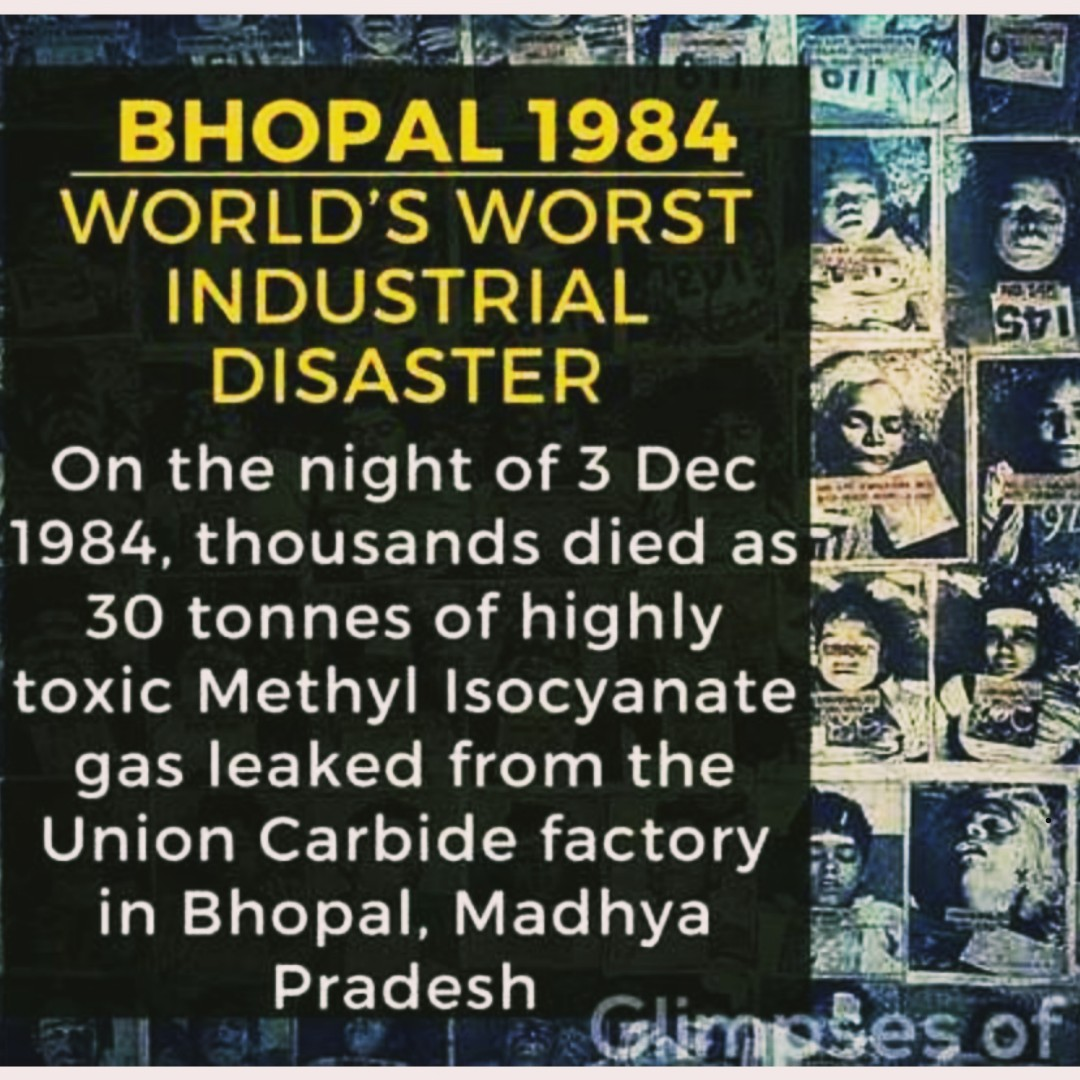 💀 भोपाल गैस त्रासदी - oliy BHOPAL 1984 WORLD ' S WORST INDUSTRIAL DISASTER On the night of 3 Dec 1984 , thousands died as it 30 tonnes of highly toxic Methyl Isocyanate gas leaked from the Union Carbide factory in Bhopal , Madhya Pradesh Glimpses of - ShareChat