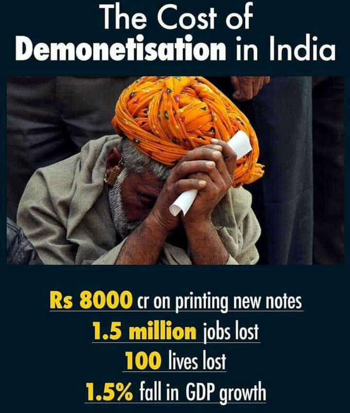 AAP - आम आदमी पार्टी - The Cost of Demonetisation in India Rs 8000 cr on printing new notes 1 . 5 million jobs lost 100 lives lost 1 . 5 % fall in GDP growth - ShareChat