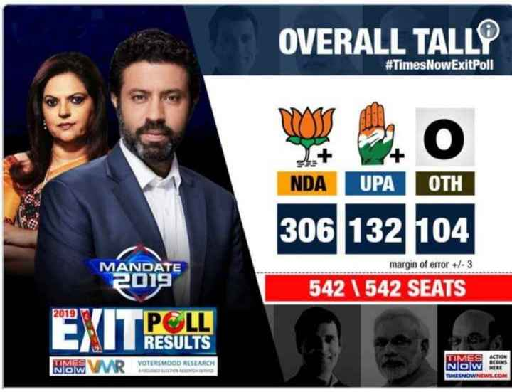 ABP Exit Poll 2019 - OVERALL TALLE # Times NowExitPoll NDA UPA OTH 306 132 104 margin of error + / - 3 MANDATE 2019 542 542 SEATS 2019 POLL RESULTS WMWWUR VOTERS VOTERSMOOD RESEARCH TIMES NOW TIMES ACTION NOW ME TIMESNOWNEWS . COM - ShareChat