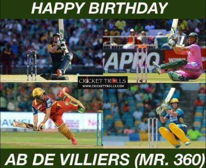 🎂AB de Villiers ಹುಟ್ಟುಹಬ್ಬ - HAPPY BIRTHDAY APRO CRICKET TROLLS WWW . CRICKETTROLLS . COM AB DE VILLIERS ( MR . 360 ) - ShareChat