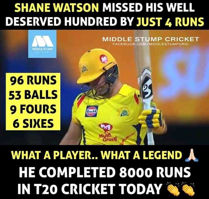 CSK ফ্যান - SHANE WATSON MISSED HIS WELL DESERVED HUNDRED BY JUST 4 RUNS MIDDLE STUMP CRICKET FACEBOOK . COM / MIDDLESTUMPCRIC MIDDLE STLIMP 96 RUNS 53 BALLS 9 FOURS 6 SIXES Guld Muti Grodt WHAT A PLAYER . . WHAT A LEGENDA HE COMPLETED 8000 RUNS IN T20 CRICKET TODAY - ShareChat