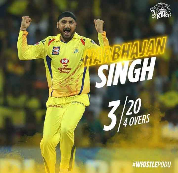 🏏CSK Vs RCB - CONNU SUPER KING Gult pa The Muthoot sti . BHAJAN SINGH Group 320 4 OVERS # WHISTLEPODU - ShareChat