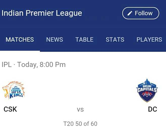 🏏CSK vs DC - Indian Premier League Follow MATCHES NEWS TABLE STATS PLAYERS IPL · Today , 8 : 00 pm DELHI CAPITALS CHEMMRI SUPER KINGS CSK VS DC T20 50 of 60 - ShareChat