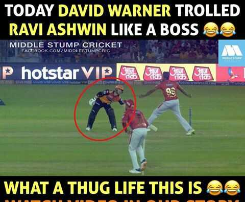 🏏CSK vs KKR - TODAY DAVID WARNER TROLLED RAVI ASHWIN LIKE A BOSS as MIDDLE STUMP CRICKET 5 FACEBOOK . COM / MIDDLESTUMPCRIC P hotstar VIP BA VID P IIRRT WHAT A THUG LIFE THIS IS SS - ShareChat