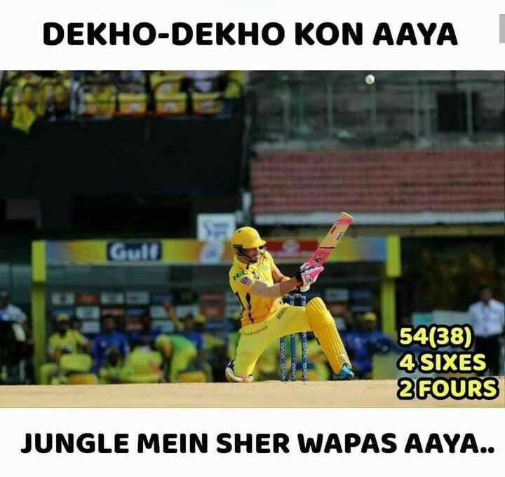 🏏CSK vs KXIP - DEKHO - DEKHO KON AAYA Gull 54 ( 38 ) 4 SIXES 2 FOURS JUNGLE MEIN SHER WAPAS AAYA . . - ShareChat