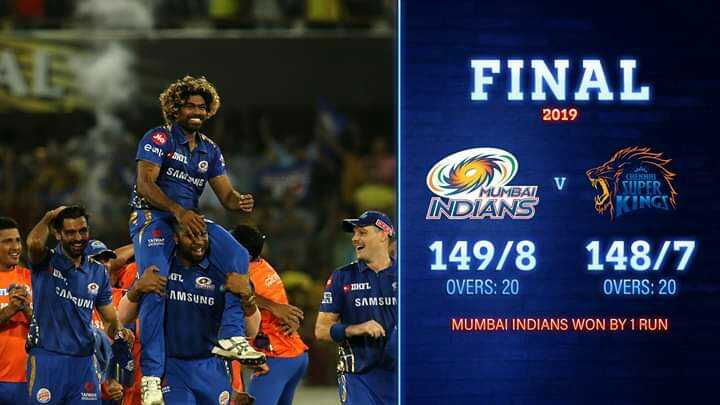 🏏CSK vs MI - FINAL 2019 ear SAM5 MUMBAI V INDIANS SUPERF INCIN 149 / 8 _ 148 / 7 OVERS : 20 OVERS : 20 SANUNU AMSUNG BOL SAMSUN MUMBAI INDIANS WON BY 1 RUN - ShareChat