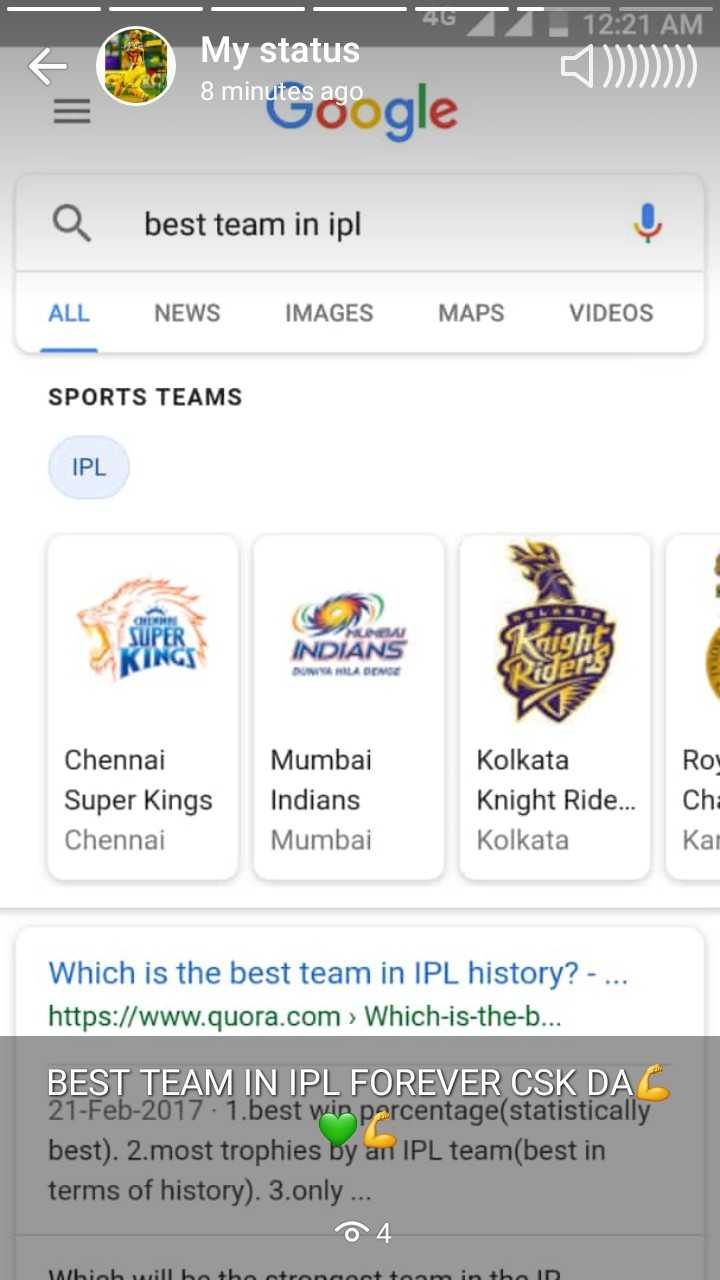 CSK vs MI - GTI 12 : 21 AM My status 8 minutes ago 8 minutes oogle a best team in ipl ALL NEWS IMAGES MAPS VIDEOS SPORTS TEAMS IPL SUPER INDIANS BUMILA BENGE Qider Roy Chennai Super Kings Chennai Mumbai Indians Mumbai Kolkata Knight Ride . . . Kolkata Cha Kai Which is the best team in IPL history ? - . . . https : / / www . quora . com > Which - is - the - b . . . BEST TEAM IN IPL FOREVER CSK DA 21 - Feb - 2017 1 . best win percentage ( statistically best ) . 2 . most trophies by an IPL team ( best in terms of history ) . 3 . only . . . 04 biob will be + boctrocant team in the ID - ShareChat