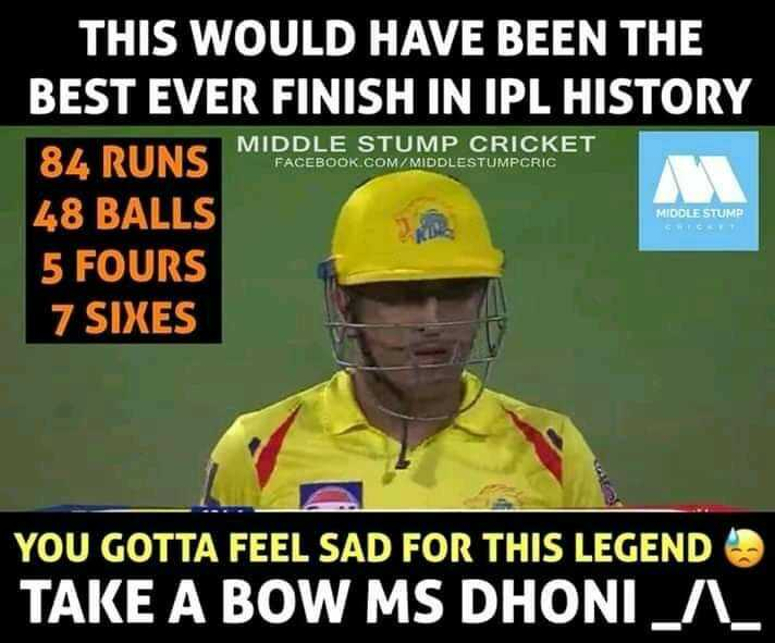 🏏CSK vs RCB - THIS WOULD HAVE BEEN THE BEST EVER FINISH IN IPL HISTORY MIDDLE STUMP CRICKET FACEBOOK . COM / MIDDLESTUMPCRIC MIODLE STUMP 48 BALLS 5 FOURS 7 SIXES YOU GOTTA FEEL SAD FOR THIS LEGEND TAKE A BOW MS DHONI _ A _ - ShareChat
