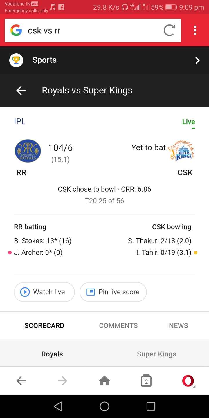 🏏CSK vs RR - Vodafone IN VOLTE f 29 8K 29 . 8 K / s 04 . * | | 59 % 0 Emergency calls only d 9 : 09 pm G sk vs rr Sports f Royals vs Super Kings IPL Live AIRS 104 / 6 Yet to bat CHENNAI OPERS SUPER RAJASTHAN ROYALS KINGS ( 15 . 1 ) RR CSK CSK chose to bowl · CRR : 6 . 86 T20 25 of 56 RR batting B . Stokes : 13 * ( 16 ) • J . Archer : 0 * ( 0 ) CSK bowling S . Thakur : 2 / 18 ( 2 . 0 ) 1 . Tahir : 0 / 19 ( 3 . 1 ) • Watch live O Pin live score SCORECARD COMMENTS NEWS Royals Super Kings € → A O - ShareChat
