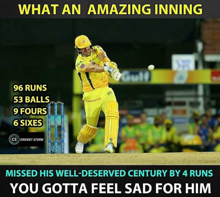 🏏CSK vs SRH - WHAT AN AMAZING INNING 96 RUNS 53 BALLS 9 FOURS 6 SIXES ONIA CAIN OAIN OAN OAIA OAIA O AIN Vivo Vivo vivo vivo CS CRICKET STORM MISSED HIS WELL - DESERVED CENTURY BY 4 RUNS YOU GOTTA FEEL SAD FOR HIM - ShareChat