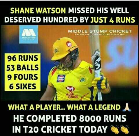 🏏 CSK 💛 vs SRH 🔶 - SHANE WATSON MISSED HIS WELL DESERVED HUNDRED BY JUST 4 RUNS MIDDLE STUMP CRICKET FACEBOOK . COM / MIDDLESTUMPCRIC MOL STLINE 96 RUNS 53 BALLS 9 FOURS 6 SIXES Wool WHAT A PLAYER . . WHAT A LEGENDA HE COMPLETED 8000 RUNS IN T20 CRICKET TODAY - ShareChat