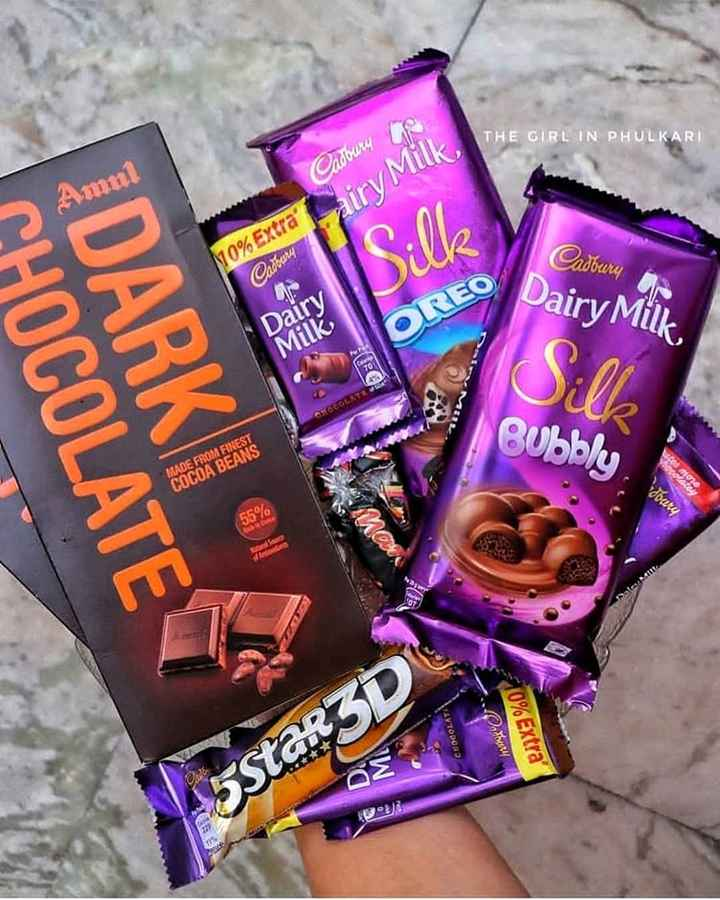 Chocolate Lover - THE GIRL IN PHULKARI Amul Cadbury Co 110 % Extra ' Lairy Milk Silk Cadbury Cadbury Dairy Milk Dairy Milk OREO CHOCOLATE DARKI I MEIL Bubbly MADE FROM FINEST COCOA BEANS 55 % CHOCOLATA Othery 10 % Extra ' O 5Star3D - ShareChat