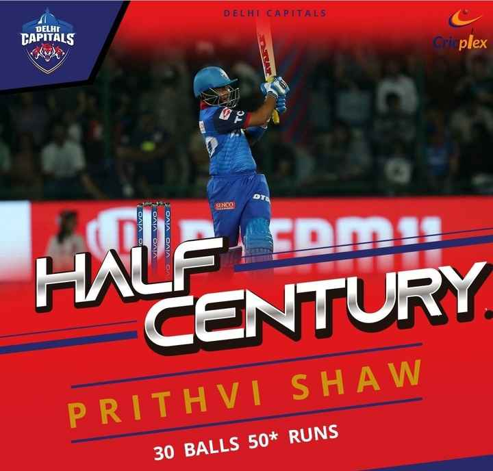 🏏DC vs KKR - DELHI CAPITALS DELHI CAPITALS Criplex TC SENCO vivo * ΟΛΙΑ ΟΛΙΑ DALA OAN ON CENTURY PRITHVI SHAW 30 BALLS 50 * RUNS - ShareChat