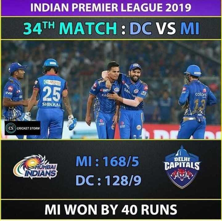 🏏DC vs MI - INDIAN PREMIER LEAGUE 2019 34TH MATCH : DC VS MI CAPOLLS 25 DIE SAN esp colors SHIKKA CS CRICKET STORM DELHI CAPITALS MUMBAI INDIANS MI : 168 / 5 DC : 128 / 9 MI WON BY 40 RUNS - ShareChat