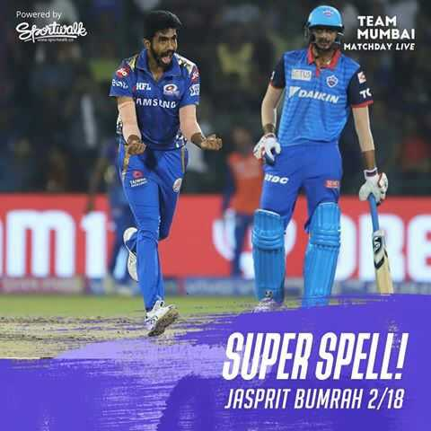 🏏DC vs MI - Powered by Sportwalle TEAM MUMBAI MATCHDAY LIVE HIL AMSUNG DAIKIN imta SUPER SPELL ! JASPRIT BUMRAH 2 / 18 - ShareChat