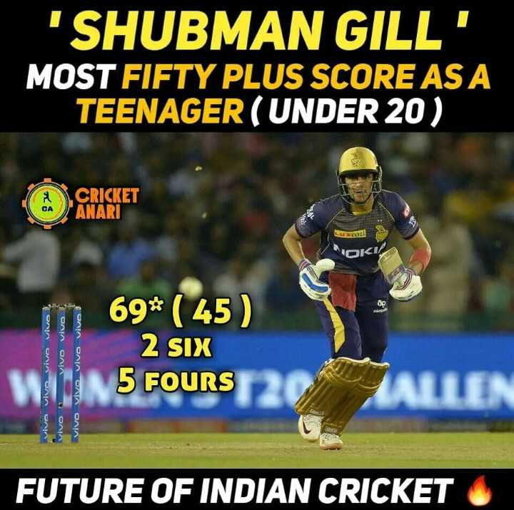 🏏 DC 🔷 vs RR 💜 - SHUBMAN GILL ' MOST FIFTY PLUS SCORE AS A TEENAGER ( UNDER 20 ) CRICKET ANARI LUXcos OKI vivo Vivo vivo vivo vivo vivo ! vivo Vivo Vivo vivo 69 * ( 45 ) 2 SIX 5 FOURS ALLEN OA FUTURE OF INDIAN CRICKET - ShareChat