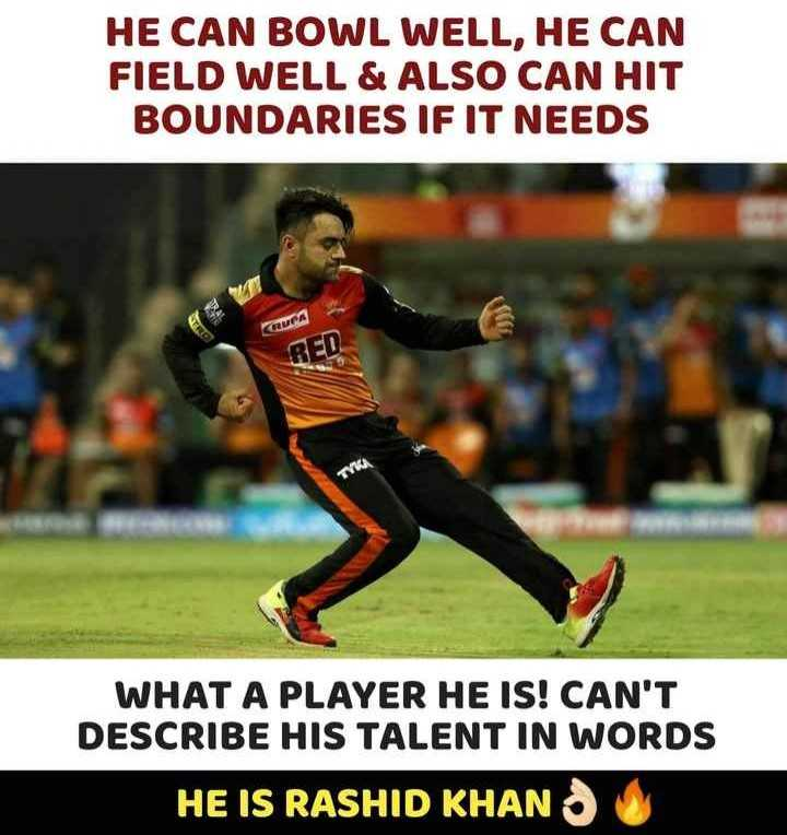 🏏 DC 🔷 vs SRH 🔶 - HE CAN BOWL WELL , HE CAN FIELD WELL & ALSO CAN HIT BOUNDARIES IF IT NEEDS UTRO CRUPA RED WHAT A PLAYER HE IS ! CAN ' T DESCRIBE HIS TALENT IN WORDS HE IS RASHID KHAN - ShareChat
