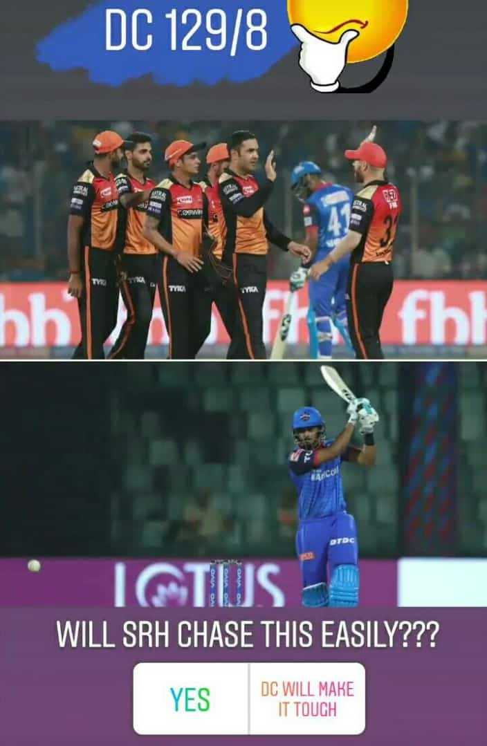 DC vs SRH - DC 129 / 8 COM fra fol DTDC ICTUS WILL SRH CHASE THIS EASILY ? ? ? YES DC WILL MAKE IT TOUGH - ShareChat