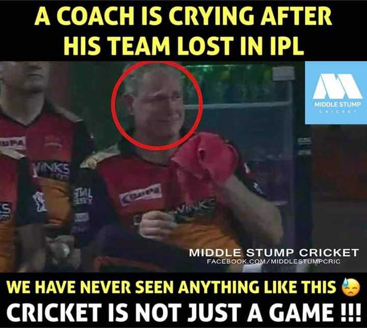DD vs SRH - A COACH IS CRYING AFTER HIS TEAM LOST IN IPL MIDDLE STUMP С А С А Т ML s MIDDLE STUMP CRICKET FACEBOOK . COM / MIDDLESTUMPCRIC WE HAVE NEVER SEEN ANYTHING LIKE THIS CRICKET IS NOT JUST A GAME ! ! ! - ShareChat