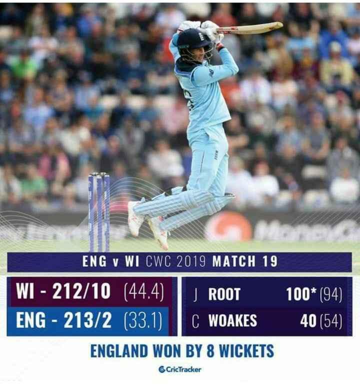 🏏ENG vs WI - ENG V WI CWC 2019 MATCH 19 WI - 212 / 10 ( 44 . 4 ) ROOT ENG - 213 / 2 ( 33 . 1 ) C WOAKES ENGLAND WON BY 8 WICKETS 100 * ( 94 ) 40 ( 54 ) CricTracker - ShareChat
