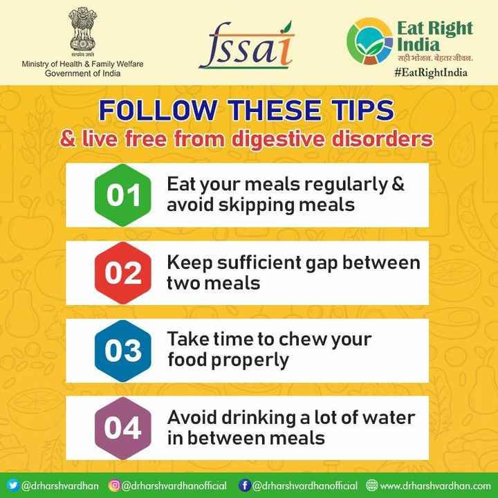 EatRightIndia_04 - COS fssaí ar an right Eat Right India H 3113101 . docrita . # EatRightIndia Ministry of Health & Family Welfare Government of India FOLLOW THESE TIPS & live free from digestive disorders 01 Eat your meals regularly & avoid skipping meals 02 Keep sufficient gap between two meals 03 Take time to chew your food properly 04 Avoid drinking a lot of water in between meals @ drharshvardhan @ drharshvardhanofficial f @ drharshvardhanofficial @ www . drharshvardhan . com - ShareChat