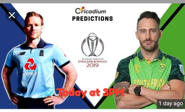 Eng vs SA - Cricadium PREDICTIONS F ICC CROCKET WORLD CUP ENGLAND & WALES 2019 PalWEST COUTH ERICA Today at 3 1 day ago - ShareChat