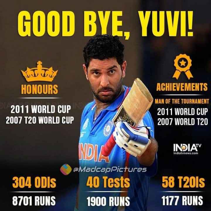 Farewell Yuvi - GOOD BYE , YUVI ! HONOURS ACHIEVEMENTS 2011 WORLD CUP 2007 T20 WORLD CUP MAN OF THE TOURNAMENT 2011 WORLD CUP 2007 WORLD T20 INDIATV Indiatvnews . com @ MadcapPictures 304 ODIS 8701 RUNS 40 Tests 1900 RUNS 58 T20ls 1177 RUNS - ShareChat