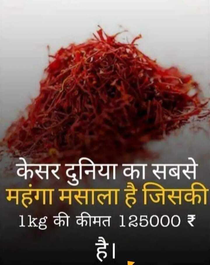 📰GK & करेंट अफेयर्स💡 - - केसर दुनिया का सबसे महंगा मसाला है जिसकी _ 1kg की कीमत 125000 ₹ - ShareChat