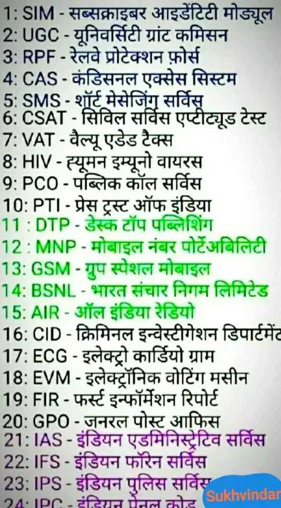 📰GK & करेंट अफेयर्स💡 - 1 : SIM - सब्सक्राइबर आइडेंटिटी मोड्यूल 2 : UGC - यूनिवर्सिटी ग्रांट कमिसन 3 : RPF - रेलवे प्रोटेक्शन फ़ोर्स 4 : CAS - कंडिसनल एक्सेस सिस्टम 5 : SMS - शॉर्ट मेसेजिंग सर्विस 6 : CSAT - सिविल सर्विस एप्टीट्यूड टेस्ट 7 : VAT - वैल्यू एडेड टैक्स 8 : HIV - ह्यूमन इम्यूनो वायरस 9 : PCO - पब्लिक कॉल सर्विस 10 : PTI - प्रेस ट्रस्ट ऑफ इंडिया 11 : DTP - डेस्कटॉप पब्लिशिंग 12 : MNP - मोबाइल नंबर पोर्टेअबिलिटी 13 : GSM - ग्रुप स्पेशल मोबाइल 14 : BSNL - भारत संचार निगम लिमिटेड 15 : AIR - ऑल इंडिया रेडियो 16 : CID - क्रिमिनल इन्वेस्टीगेशन डिपार्टमेंट 17 : ECG - इलेक्ट्रो कार्डियो ग्राम । 18 : EVM - इलेक्ट्रॉनिक वोटिंग मसीन 19 : FIR - फर्स्ट इन्फॉर्मेशन रिपोर्ट 20 : GPO - जनरल पोस्ट आफिस 21 : IAS - इंडियन एडमिनिस्ट्रेटिव सर्विस 22 : IFS - इंडियन फॉरेन सर्विस 23 : IPS - इंडियन पुलिस सर्विस 24 IPC - Had chta Sukhvinda - ShareChat
