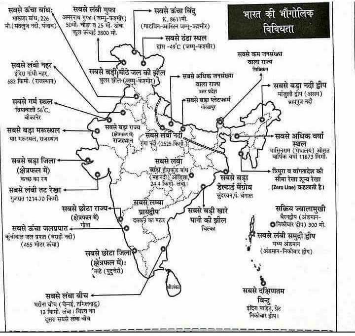 📰GK & करेंट अफेयर्स💡 - सबसे ऊंचा बांधः सबसे लंबी गुफा - सबसे ऊंचा बिंदु भाखड़ा बांध , 226अमरनाथ गुफा ( जम्मू - कश्मीर ) भारत की भौगोलिक K , 8611मी . मी ( सतलुज नदी , पंजाब ) 50मी . चौड़ाव 25 मो . कंचा ( गाढविन - आस्टिन जम्मू - कश्मीर ) कुल ऊंचाई 3800 मो . विविधता - सबसे ठंडा स्थल दास - 49c ( जम्मू - कश्मीर ) सवसे कम जनसंख्या सबसे लंबी नहर वाला राज्य इंदिरा गांधी नहर , सबसे बड़ी मीठे जल की झील - सबसे अधिक जनसंख्या सिमिकम 682 किमी . ( राजस्थान ) बुलर झील ( जम्मू - कश्मीर ) | वाला राज्य - सबसे बड़ा नदी द्वीप उत्तर प्रदेश मांजुली द्वीप ( असम ) सबसे गर्म स्थल सबसे बड़ा प्लेटफार्म ब्रह्मपुत्र नदी वियावाली 56°C . गोरखपुर बीकानेर सबसे बड़ा मरूस्थल ( क्षेत्रफल में सबसे लंबी नदी थार मरूस्थल , राजस्थान सबसे अधिक वर्षों स्थल मासिनराम ( मेघालय ) औसत सबसे बड़ा जिला सबसे लंबा वार्षिक वर्षा 11873 मिमी . ( क्षेत्रफल में ) - - बांध हीराकुंड बांध • त्रिपुरा व वांग्लादेश की कच्छ कारण ( महानदी ) ओडिशा सबसे बड़ा सीमा रेखा शून्य रेखा सबसे लंबी तटरेखा ( Zero Line ) कहलाती है । गुजरात 1214 . 70 किमी . सबसे लम्बा सबसे छोटा राज्य प्रायद्वीप स बसे बडी खारे सक्रिय ज्वालामुखी ( क्षेत्रफल में ) दक्कन का पठार पानी की झील बैरनद्वीप ( अंडमान सबसे ऊंचा जलप्रपात - गोवा चिल्का निकोबार द्वीप ) 300 मी . कुंचीकल जल प्रपात ( वराही नदी ) सबसे लंबी समुदी द्वीप ( 455 मीटर ऊंचा ) मध्य अंडमान सबसे छोटा जिला ( अंडमान - निकोबार द्वीप ) ( क्षेत्रफल में ) : ' माहे ( पुदुचेरी ) राजस्थान गंगा नदी ( 67525 THI - संदरवन , पं . बंगाल सबसे लंबा बीच मरीना बीच ( चेन्नई , तमिलनाडु ) 13 किमी . लंबा । विश्व का दूसरा सबसे लंबा चीच सबसे दक्षिणतम विन्दु इंदिरा प्वांइट , ग्रेट निकोबार द्वीप । - - - - - - - - - - - - - - - - - - - - - - - - - - - - ShareChat