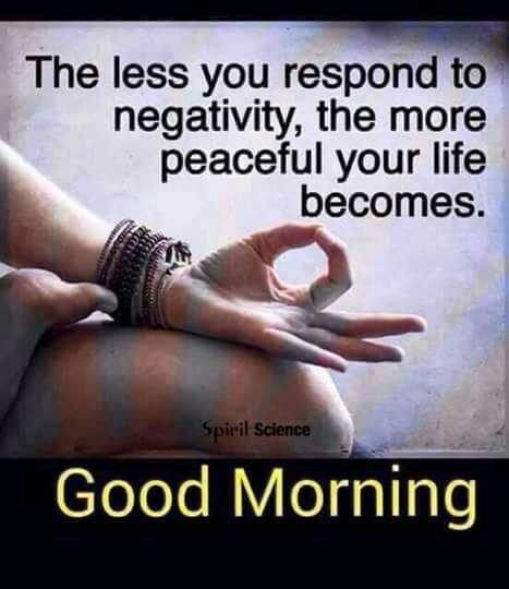 💪GYM/योगा - The less you respond to negativity , the more peaceful your life becomes . Spirit Science Good Morning - ShareChat