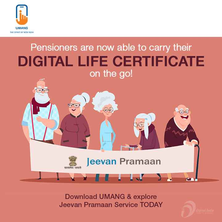 🌞Good Morning🌞 - UMANG THE SPIRIT OF NEW INDIA Pensioners are now able to carry their DIGITAL LIFE CERTIFICATE on the go ! Jeevan Pramaan सत्यमेव जयते Download UMANG & explore Jeevan Pramaan Service TODAY Digital India - ShareChat