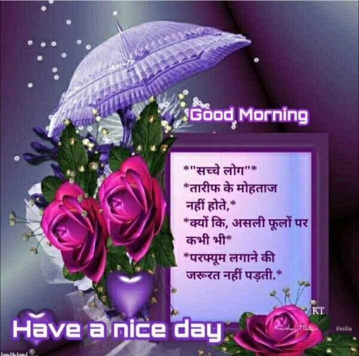 🌞 Good Morning🌞 - Good Morning * सच्चे लोग * * तारीफ के मोहताज नहीं होते , * * क्यों कि , असली फूलों पर कभी भी * * परफ्यूम लगाने की जरूरत नहीं पड़ती . * Have a nice day , Emilia imilimi - ShareChat