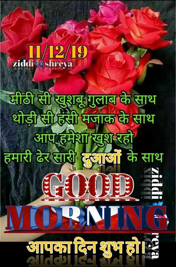 🌞 Good Morning🌞 - ziddi shreya मीठी सी खुशबू गुलाब के साथ | थोड़ी सी हंसी मजाक के साथ - आप हमेशा खुश रहो हमारी ढेर सारी दुआओं के साथ NAA MORNING आपका दिन शुभ हो । - ShareChat