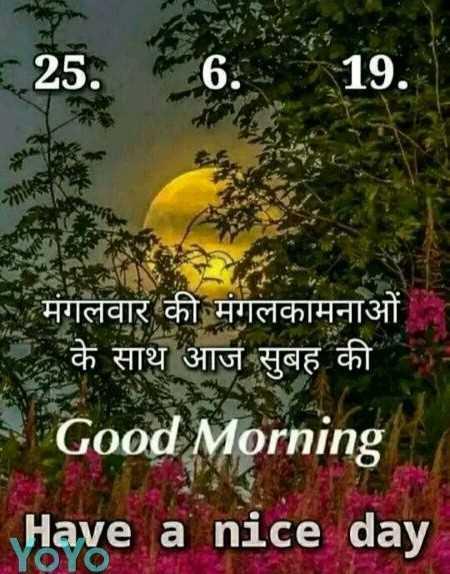 🌞Good Morning🌞 - 25 6 . 19 . मंगलवार की मंगलकामनाओं के साथ आज सुबह की Good Morning Have a nice day - ShareChat